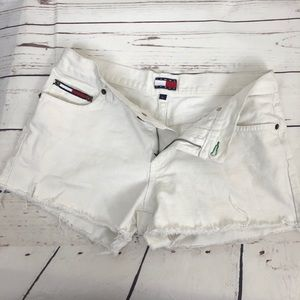 Tommy Hilfiger Jeans Shorts Distressed Frayed Flag